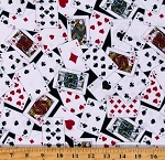Cotton Playing Cards Allover Games Spades Hearts Diamonds Clubs Game Night Man Cave White Cotton Fabric Print by the Yard (52411-2)