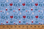 Cotton Medical Equipment Nurses First Aid Hospital Heartbeat Blue Cotton Fabric Print by the Yard (110832-CA61220)