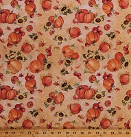 Cotton Pumpkins Sunflowers Apples Fruit Autumn Fall Leaves Thanksgiving Harvest Cotton Fabric Print by the Yard (68777-A620710)