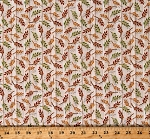 Cotton Autumn Leaves Foliage Fall Colors Harvest Elegance Cream Cotton Fabric Print by the Yard (1649-27672-E)
