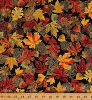 Cotton Fall Harvest Leaves Trees Golden Colors Thanksgiving Multicolor Cotton Fabric Print by the Yard (HARVEST-CM8546-BLACK)