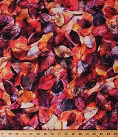 Cotton Leaf Leaves Fall Autumn Forest Landscape Cotton Fabric Print by the Yard (Q4452-515-RUMRAISIN)