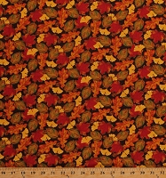 Cotton Fall Leaves Autumn Colorful Maple Oak Leaves Acorns on Brown Cotton Fabric Print by the Yard (A4663-34)