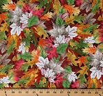 Cotton Leaves Leaf Fall Autumnal Orange Green Red Nature Foliage Cotton Fabric Print by the Yard (NATURE-CD7411-MULTI)