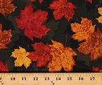 Cotton Autumn Leaves Maple Leaf Toss on Green Camouflage-Look Fall Autumnal Thanksgiving Cotton Fabric Print by the Yard (NATURE-C7647-MULTI)
