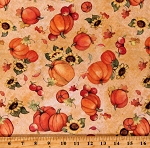 Cotton Pumpkins Sunflowers Apples Fruit Autumn Fall Leaves Thanksgiving Harvest Cotton Fabric Print by the Yard (68777-A620310)