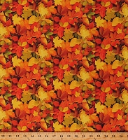 Cotton Autumn Fall Leaves Leaf Nature Landscape Seasonal Orange Cotton Fabric Print by the Yard (52112D-X)