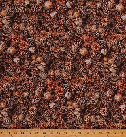 Cotton Pinecones Cones Trees Nature Foliage Landscape Brown Cotton Fabric Print by the Yard (52114D-X)