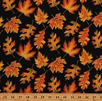 Cotton Fall Autumn Harvest Leaves Trees Colors Thanksgiving Black Cotton Fabric Print by the Yard (1670M-12)