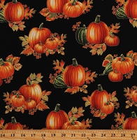 Cotton Pumpkins Food Thanksgiving Day Fall Autumn Harvest Black Cotton Fabric Print by the Yard (1669M-12)
