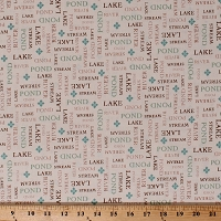 Cotton Pond River Lake Words on Ivory Northwoods Camping Nature Tranquility Cotton Fabric Print by the Yard (1649-26394-EA)