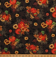 Cotton Fall Seasonal Pumpkins Metallic Flowers Thanksgiving Brown Cotton Fabric Print by the Yard (10608083)