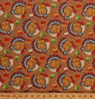Cotton Seasonal Fall Turkeys Animals Thanksgiving Day Cotton Fabric Print by the Yard (10608081)