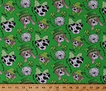 Cotton St Patrick's Day Lucky Dogs Puppies Shamrocks Green Sparkles Hats Clovers Cotton Fabric Print by the Yard (14640403)
