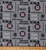 Cotton United States of America Coast Guard Symbols Emblems USA Patriotic Military Stars and Stripes American Eagle on Gray Cotton Fabric Print by the Yard (1181-CG)