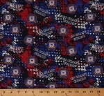 Cotton United States of America Coast Guard Symbols Emblems USA Patriotic Military Stars and Stripes American Eagle on Abstract Red White Blue Cotton Fabric Print by the Yard (1180-CG)