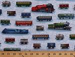 Cotton Trains Railroads Boxcars Travel Transportation All Aboard Cotton Fabric Print by the Yard (AKO-14089-195-BRIGHT)
