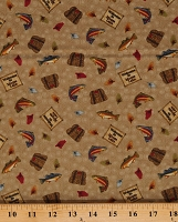 Cotton Fish Lures Tackle Boxes Fishing Toss Mocha (Moose Lake) Cotton Fabric Print by the Yard (05092-73)