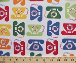 Cotton This and That Telephones Rotary Dial Phones Call Talk White Cotton Fabric Print by the Yard (aak-14287-195)