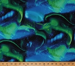 Cotton Aurora Borealis Galaxy Green Blue Stars Outer Space Cotton Fabric Print by the Yard (NATURE-C2685-GREEN)