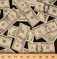 Cotton Money United States Dollar USD Rich Pleasures & Pastimes Cotton Fabric Print by the Yard (ETJ-5211-1MONEY)