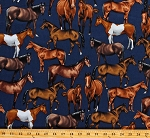 Cotton Horses Animals Stables Navy Cotton Fabric Print by the Yard (GM-C8120)