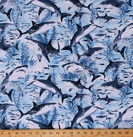 Cotton Sharks Ocean Fish Blue Cotton Fabric Print by the Yard (SEA-C7980)
