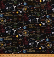 Cotton Math Science Space Equations Cotton Fabric Print by the Yard (5306-94)