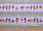 Colorful Snacks Ice Cream with Words Cotton Fabric Print (wendy-c8186-pink)