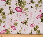 Cotton Morning Glories Pink Morning Glory Flowers Foral Hummingbirds Gold Metallic Shimmer Cotton Fabric Print by the Yard (23320M-10WHITEMULTI)