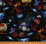 Cotton Outer Space Planets Stars Galaxy Stargazers Black Cotton Fabric Print by the Yard (EKJM-6075-2)