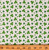 Cotton Lucky Clovers Shamrocks St Patrick's Day Irish Pot of Gold White Cotton Fabric Print by the Yard (9368-16)