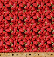 Cotton Strawberry Strawberries Food Fruit Vegetables Red Cotton Fabric Print by the Yard (112594)