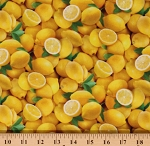Cotton Lemons Fruits Yellow Food Summer Realistic Cotton Fabric Print by the Yard (483YELLOW)