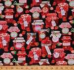 Cotton Strawberry Jamboree Strawberries Jam Jelly Jars Preserves Red/Black Cotton Fabric Print by the Yard (09767-12)