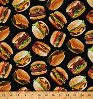 Cotton Food Cheeseburgers Meat Vegetables Burgers Black Cotton Fabric Print by the Yard (FOOD-C6995-BLACK)