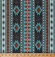 Cotton Southwestern Stripes Turquoise Red Brown Gray Tribal Native American Aztec Home on the Range Southwest Cotton Fabric Print by the Yard (B-9262-99)