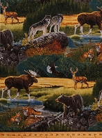 Cotton Bear Wolves Moose Deer Fox Eagle Wildlife Northwoods Animals Bringing Nature Home Scenic Cotton Fabric Print by the Yard (AAX-15210-268-NATURE)