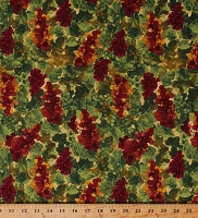 Cotton Grapes Clusters Bunches Leaves Fruit Vineyard Winemaking Rhone Valley in Dark Butter Cotton Fabric Print by the Yard (Y2511-60DARKBUTTER)