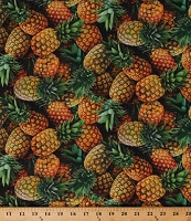 Cotton Pineapples Allover Tropical Fruit Kitchen Food Festival Cotton Fabric Print by the Yard (596GOLD)