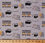 Cotton Farming Quotes Farmers Agriculture Cows Farmhouse Homestead Life Tara Reed Gray Cotton Fabric Print by the Yard (C9450-Gray)