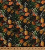 Cotton Pineapples Tropical Fruits Packed Summer Hawaii A La Carte Cotton Fabric Print by the Yard (51895D-X)