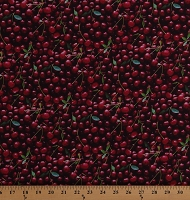 Cotton Cherries Cherry Fruits Food Kitchen A La Carte Red Cotton Fabric Print by the Yard (51894D-X)