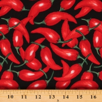 Cotton Peppers Foods Red on Black Vegetables Spicy Cotton Fabric Print by the Yard (EK1329-4BLACK)