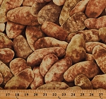 Cotton Potatoes All Over Vegetables Farming Crops Brown Cotton Fabric Print by the Yard (FOOD-C6443)