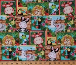 Cotton Bazoople Waterfall Patch Wild Animals Kids Zoo Animals Cotton Fabric Print by the Yard (70708-A620715)