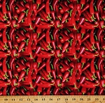 Cotton Food Red Peppers Fruits Vegetables Red Cotton Fabric Print by the Yard (112591)