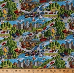 Cotton Going Places City Cars Transportation Vehicles Cityscape Cotton Fabric Print by the Yard (9831-77)