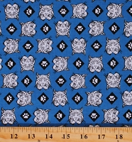 Cotton Cub Scouts Boy Scouts Bobcats Paws Allover Pattern Blue Cotton Fabric Print by the Yard (C7205-BLUE)
