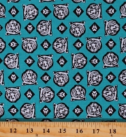 Cotton Cub Scouts Boy Scouts Bears Paws Allover Pattern Teal Cotton Fabric Print by the Yard (C7205-TEAL)